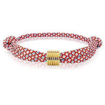 Skipper bracelet surfer band mark nodes bracelet red/blue with Golden Pendant 7364