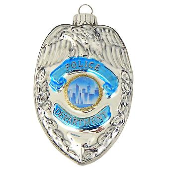 Christmas By Krebs Police Badge Holiday Ornament Glass