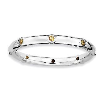 925 sterling sølv bezel polert rhodium belagt stables uttrykk citrine ring smykker gaver til kvinner - ring størrelse