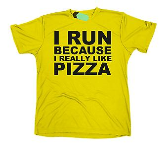 I Run Because I really Like Pizza, Mens Tridri Activewear Fitness Gym Top