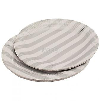 Pack of 20 Plates Paper Silver Striped 23cm Diameter