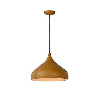 Lucide Woody Scandinavian Round Metal Wood And Black Pendant Light