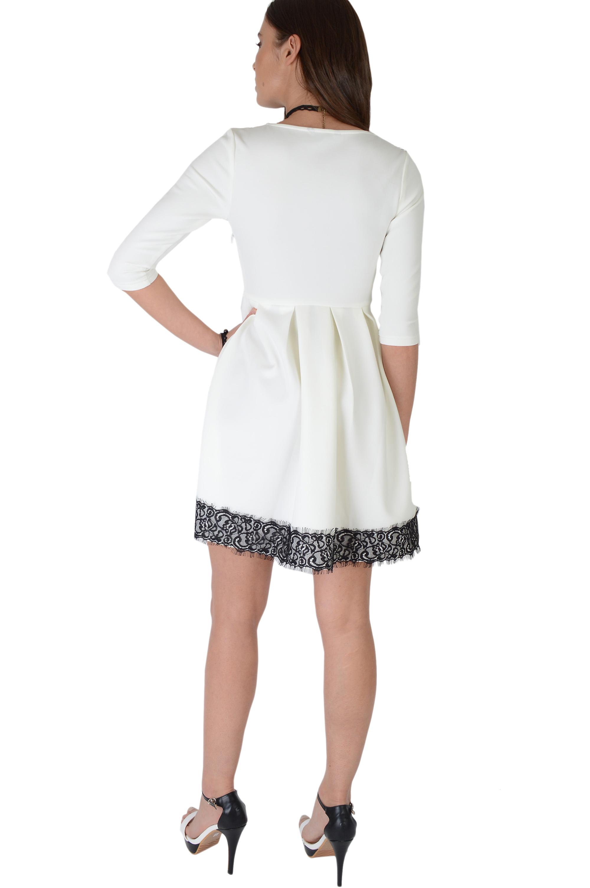 Lovemysyle White Skater Dress With Black Lace V-Neckline