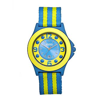 Crayo Carnival Nylon-Band Unisex Watch w/Date - Cerulean/Yellow