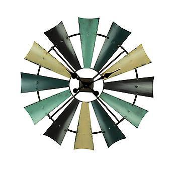 Rustikale farbige Metall Bauernhaus Windmühle Wanduhr