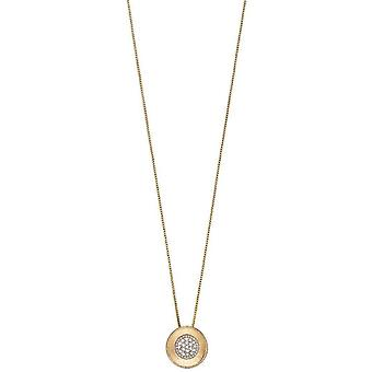 Elements Gold Brushed Finish Pendant - Yellow Gold/Silver