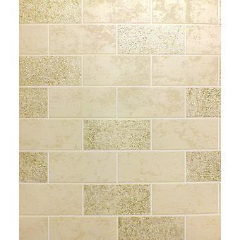 Efekt Tapety dachówka Glitter luksusowych zmywalne winylowe cegły beżowy białe złoto