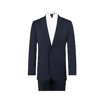 Dobell Mens Navy Travel/Performance 2 Piece Suit Slim Fit Peak Lapel