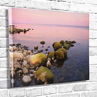 Photo Canvas Twilight Seashore, Wall Art 90 x 60 cm Attached to Real Wooden Framework