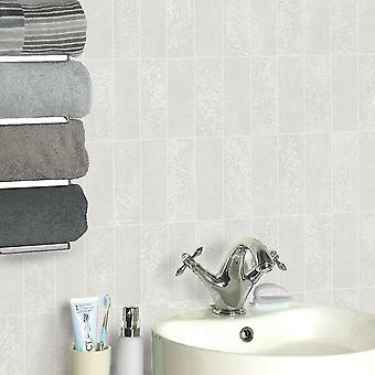 Steen tegelpatroon behang metallic glitter keuken badkamer reliëf vinyl