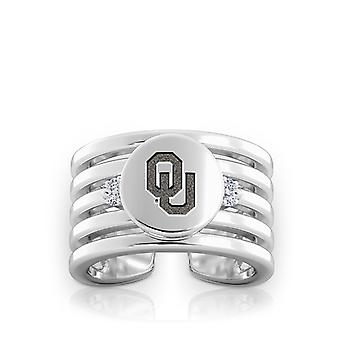 University Of Oklahoma Engraved Sterling Silver Diamond Multiband Cuff Ring