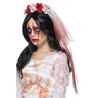 Blood Drip Veil Blanc, Accessoires de robe de fantaisie d'Halloween, une taille
