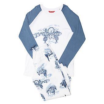 Minijammies 5508 Girl's Harper White Mix London Print Modal Pyjama Set