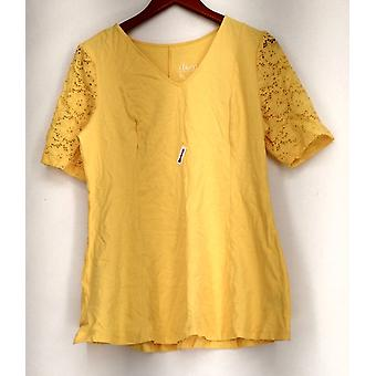 Top Fit Flare Stretch Encaje Manga Amarillo A290115