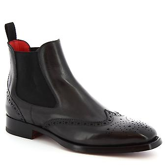 Leonardo Shoes Men's handmade brogues ankle boots delave gray calf leather