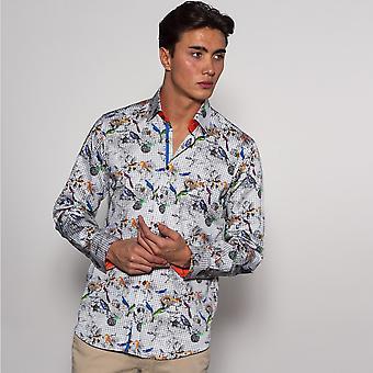 CLAUDIO LUGLI Jacquard Bird & Floral Shirt