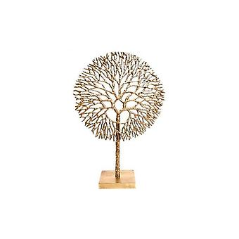 Large Gold Coloured Coral Ornament Metal With Stand Contemporary Home Sculptur51x36cm