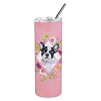 Французский бульдог Розовые цветы Двойная стена нержавеющая сталь 20 унций Тощий Тумблер