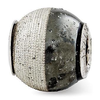 925 Sterling Silver finition polonaise Réflexions Laser Gravé et noir avec sparkles Bead Charm Pendant Necklace Bijoux