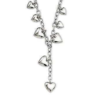 Edelstahl Fancy Hummer Verschluss poliert Liebe Herzen 18 Zoll Y Halskette 18 Zoll Schmuck Geschenke für Frauen