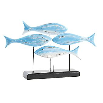 Wellindal 50x10x30 wooden figure fish aged blue (Decoration , Figures and statues)
