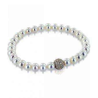 Luna-Pearls Pearl Bracelet Freshwater Pearls 6.5-7 mm Zirconia 925 Silver Plated 3001216