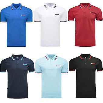 Lambretta Mens Twin Tipped Regular Fit Short Sleeve Cotton Pique Polo Shirt