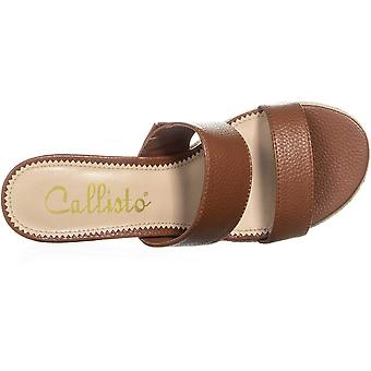 Callisto Womens Foundation Leather Open Toe Casual Slide Sandals