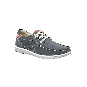 Roamers Richie Mens Nubuck Lace Up Boat Shoes Navy