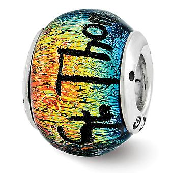 925 Sterling Silver Reflections St Thomas Orange Dichroic Glass Bead Charm Pingente Pingente Joias para Mulheres