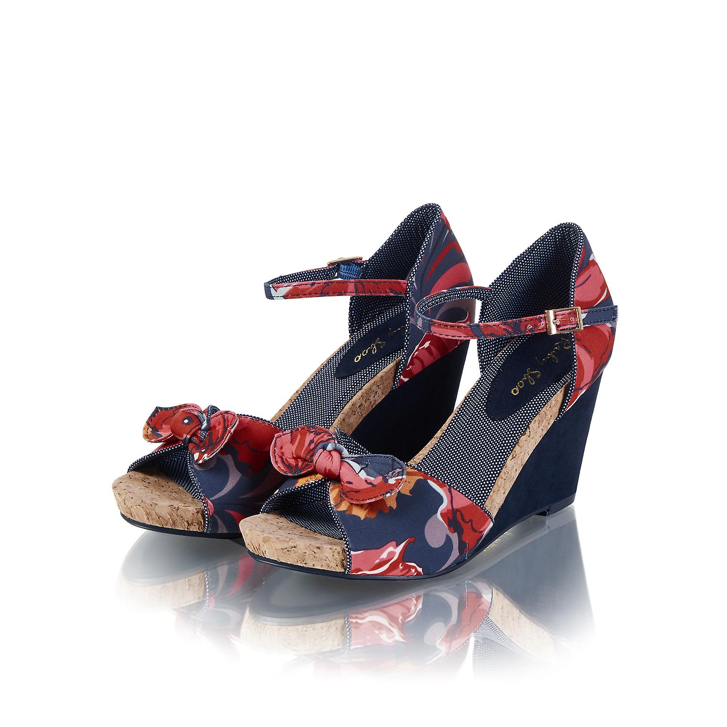 Ruby Shoo Femmes-apos;s Fabric Wedge Molly Sandals Et Matching Santiago Bag