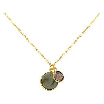 GEMSHINE catena labradorite, pietre di quarzo fumoso 925 argento, oro placcato o rosa