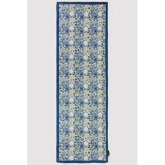 Premium crepe scarf in blue & mustard