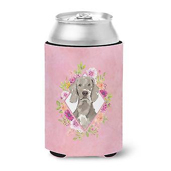 Carolines Treasures  CK4205CC Weimaraner Pink Flowers Can or Bottle Hugger