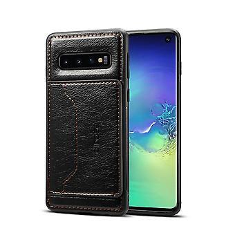 Samsung Galaxy S10 tapauksessa musta villi hevonen rakenne folio nahka lompakko kansi