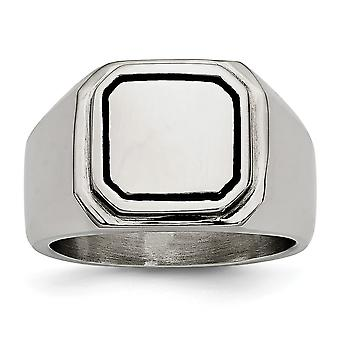 Stainless Steel Polished Black Enameled Ring Jewelry Gifts for Women - Ring Size: 9 to 12