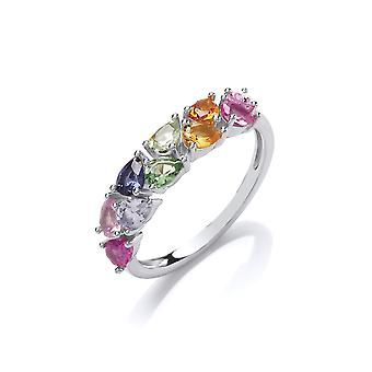 Jewelco London Rhodium Plated Sterling Silver Multi Coloured Pear-Shape Cubic Zirconia Rainbow Half Eternity Ring