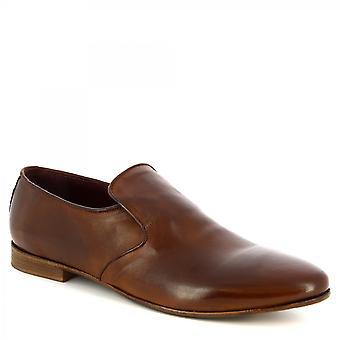 Leonardo Shoes Mężczyźni'ręcznie eleganckie buty mokasyny w tan skóry cielęcej