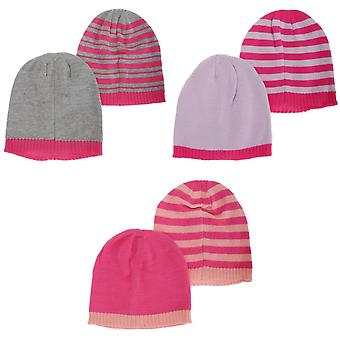 Childrens Girls Knitted Two Tone Winter Hat (Pack Of 2)