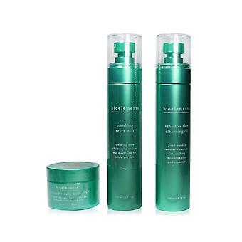 Bioelements 3-vaiheinen starter set: herkkä ihon puhdistusöljy 110ml + rauhoittava nollaus sumu 110ml + barrier fix daily hydrator 50ml - 3kpl