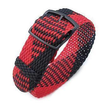 Strapcode fabric watch strap 20, 22mm miltat perlon watch strap, black & red, pvd black ladder lock slider buckle