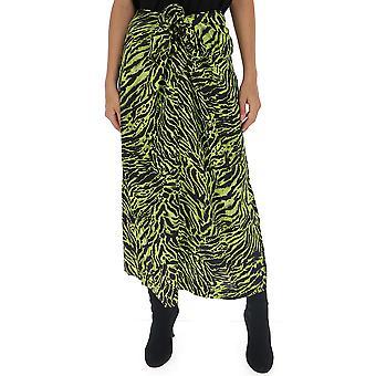 Ganni F3654852 Women's Green Silk Skirt