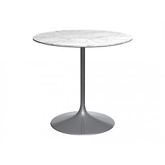 Gillmore Pedestal Medium Dining Table White Marble And Smoked Chrome