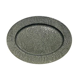 Barrel Etruscan Platter Grey Ceramicoval