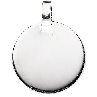 Damen Anhänger Gravur Gravurplatte rund 925 Sterling Silber rhodiniert