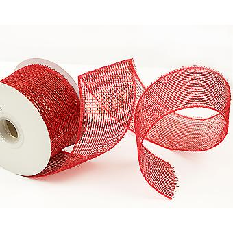 Metallic Red 6cm x 10m Deco Mesh Roll for Wreath Making, Floristry & Crafts