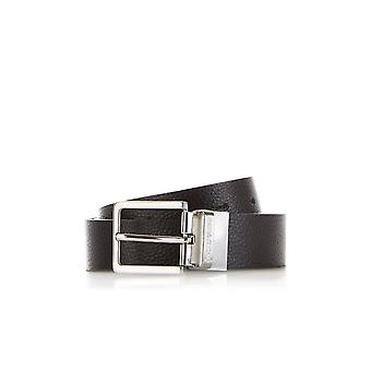 Emporio Armani Leather Black 2 Buckle Belt