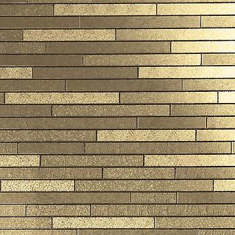 Slate Gold Foil Metallic Wallpaper Textured Vinyl Vintage Brick Kitchen Bathroom