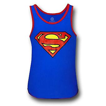 Superman rød ringed blå symbol tank top