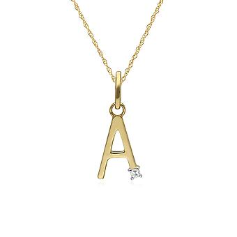 Initial A Diamond Letter Necklace in 9ct Yellow Gold 191P0748019